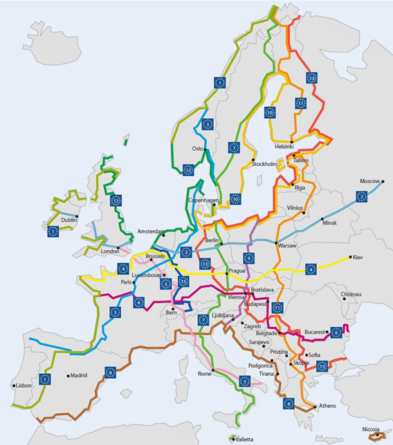 Carte des Euroveloroutes